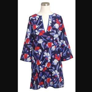 J.Crew Tissue Tunic Blue Red Tropical Print Top